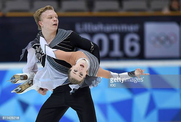 In this handout image supplied by the IOC, Ekaterina Borisova and Dmitry Sopot of Russia perform their Free Programme during the Figure Skating Mixed...