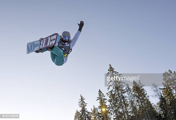 In this handout image supplied by the IOC Emily Arthur of Australia competes in the Ladies' Snowboard Halfpipe Finals at Oslo Vinterpark Halfpipe...