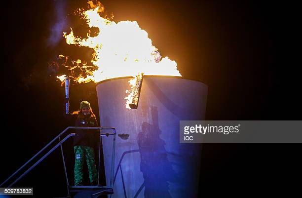 In this handout image supplied by the IOC Her Royal Highness Princess Ingrid Alexandra of Norway lights the cauldron of Lillehammer 2016 Winter Youth...