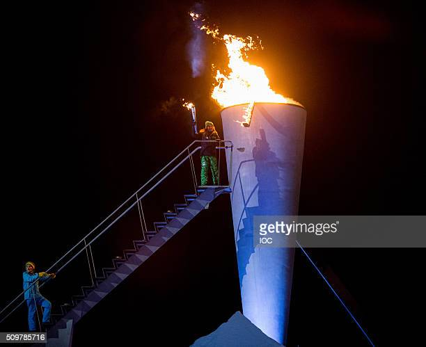 In this handout image supplied by the IOC, Her Royal Highness Princess Ingrid Alexandra of Norway lights the cauldron of Lillehammer 2016 Winter...