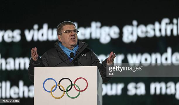 In this handout image supplied by the IOC International Olympic Committee President Thomas Bach delivers a speech during the Opening Ceremony of the...
