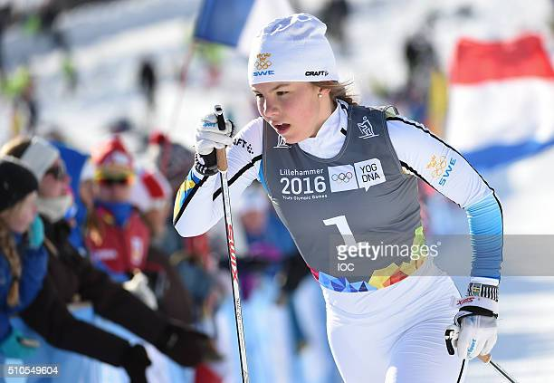 In this handout image supplied by the IOC Johanna Hagstroem of Sweden competes in the CrossCountry Skiing Ladies' Sprint Classic at Birkebeineren...