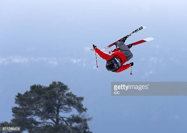 In this handout image supplied by the IOC Joona Sipola of Finland competes in the Freestyle Skiing Men's Ski Slopestyle Finals at Hafjell Freepark on...