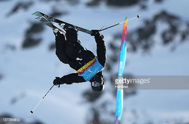In this handout image supplied by the IOC Lauri Kivari of the USA competes in the Freestyle Ski mens' Halfpipe final during the Innsbruck 2012 Winter...