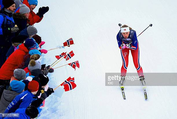 In this handout image supplied by the IOC Martine Engebretse of Norway competes in the CrossCountry Skiing Ladies' 5km Free at the Birkebeineren...