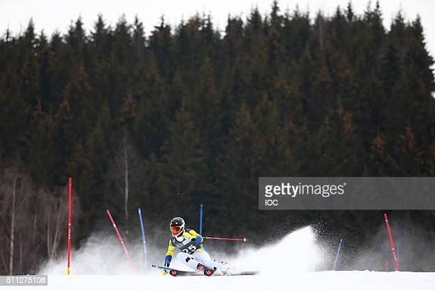 In this handout image supplied by the IOC Michel Macedo of Brazil competes during the Alpine Skiing Men's Slalom at the Hafjell Olympic Slope on day...