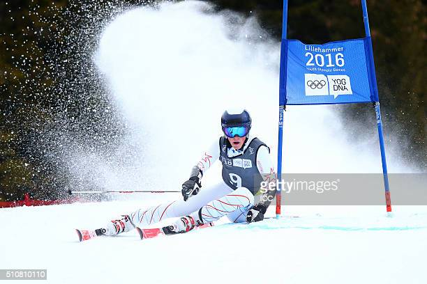 In this handout image supplied by the IOC River Radamus of USA on his way to winning the Gold Medal in the Alpine Skiing Men's Giant Slalom at the...