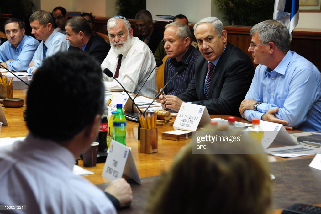 In this handout image supplied by the Israeli Governmant Press Office (GPO), Prime Minister Benjamin Netanyahu chairs a meeting of the National economy emergency committee at the PM offices. November 18, 2012 in Jerusalem, Israel. Israeli/Gaza attacks have entered the fifth day, with two media buildings being recently struck and several journalists subsequently injured. According to health officials in Gaza, at least 50 Palestinians have been killed since Israel launched operation Pillar of Defence. So far three Israelis have died in the exchange of missiles which followed an air strike on Wednesday that killed Hamas military chief Ahmed Jabari.