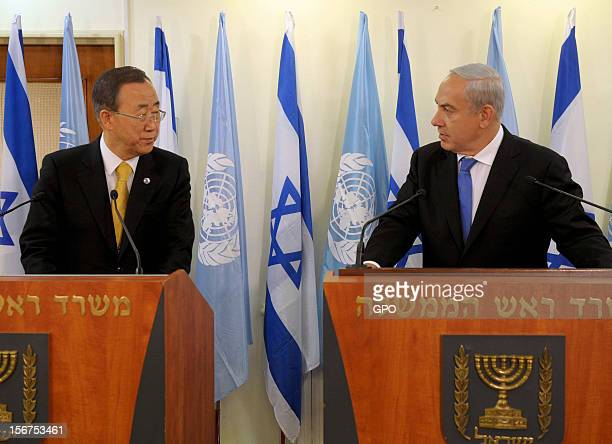 In this handout image supplied by the Israeli Governmant Press Office , United Nations Secretary-General Ban Ki-moon attends a press conference with...