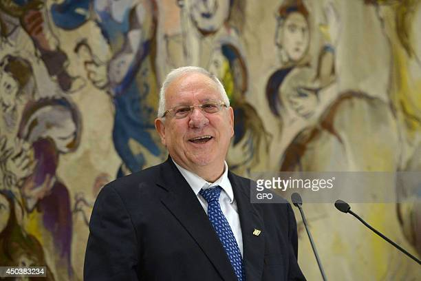 In this handout image supplied by the Israeli Government Press Office , Newly elected Israeli President Reuven Rivlin makes a speech after the...