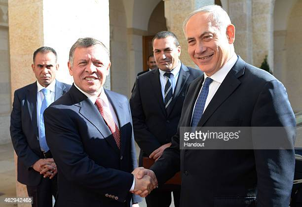 In this handout image supplied by the Israeli Government Press Office Prime Minister Benjamin Netanyahu meets Jordan's King Abdullah II during a...