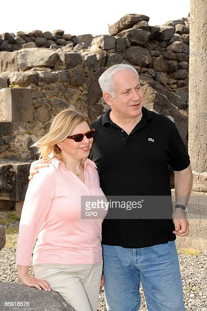 In this handout image supplied by the Israeli Government Press Office , Israeli Prime Minister Benjamin Netanyahu and his wife Sarah Netanyahu tour...