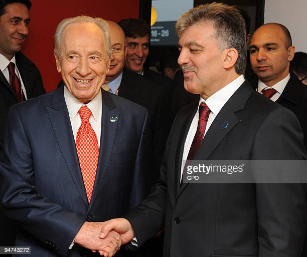 In this handout image supplied by the Israeli Government Press Office Israeli President Shimon Peres meets with Turkish President Abdullah Gul at the...