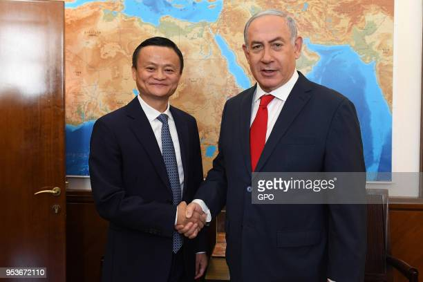 In this handout image supplied by the Israeli government press office Alibaba CEO Jack Ma meets Israeli Prime Minister Benjamin Netanyahu on May 2...