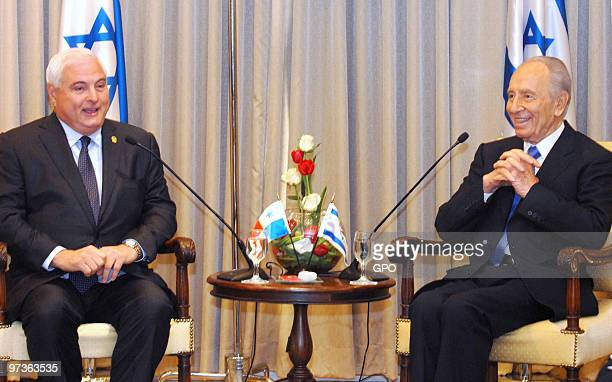 In this handout image supplied by the Israeli Government Press Office Israeli President Shimon Peres meets with the President of the Republic of...