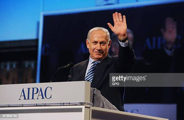 In this handout image supplied by the Israeli Government Press Office Prime Minister Benjamin Netanyahu speaks at the American Israel Public Affairs...