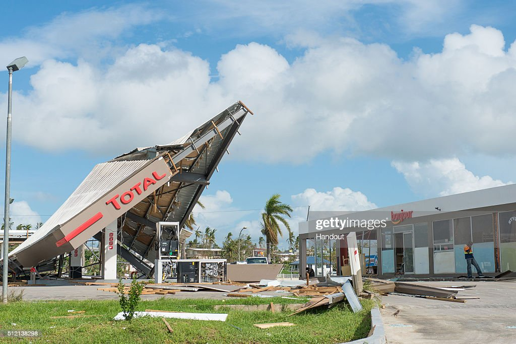 In this handout image supplied by the Mai Life Magazine, a Total Service Station in Ba Town is seen destroyed on February 22, 2016 in Fiji. Category 5 Tropical Cyclone Winston made landfall in Fiji on Saturday 20 February, continuing its path of destruction into Sunday 21 February. A state of natural disaster and a nationwide curfew had been declared by the Government of Fiji earlier in the evening. The Fijian Government has declared a state of natural disaster for the next 30 days and has initiated the clean-up process by clearing the huge amounts of debris scattered everywhere.