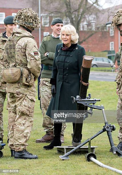 In this handout image supplied by the Ministry of Defence Camilla Duchess of Cornwall Royal Colonel 4th Battalion The Rifles paid her last visit to...
