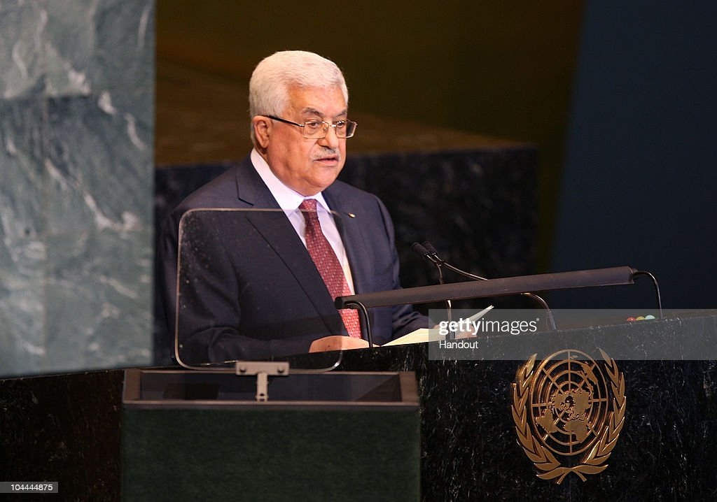 In this handout image supplied by the Office of the Palestinian President, President Mahmoud Abbas speaks during the United Nations General Assembly September 25, 2010 in New York City. Leaders and diplomats from around the world are in New York City for the United Nations yearly General Assembly.