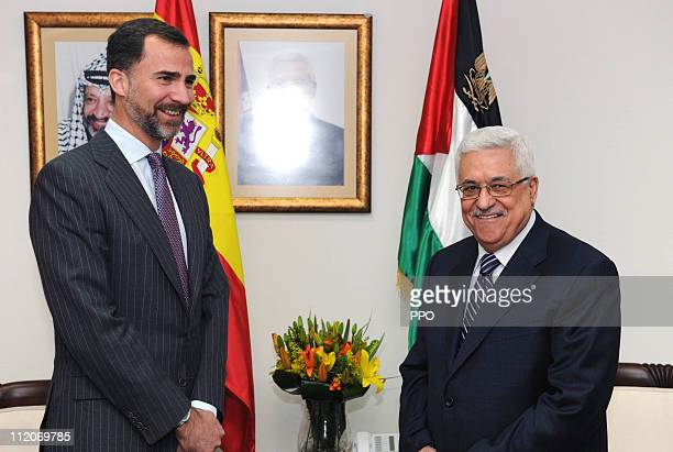 In this handout image supplied by the Office of the Palestinian President President Palestinian President Mahmoud Abbas meets with Prince Felipe of...