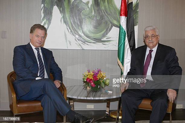 In this handout image supplied by the Palestinian President's Office Palestinian Authority President Mahmoud Abbas meets with President of Finland...