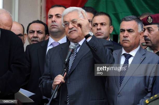 In this handout image supplied by the Palestinian President's Office Mahmoud Abbas speaks to crowds of supporters before heading to the United...
