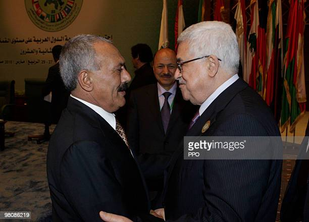 In this handout image supplied by the Palestinian Press Office Palestinian President Mahmoud Abbas talks to Yemeni President Ali Abdullah Saleh on...