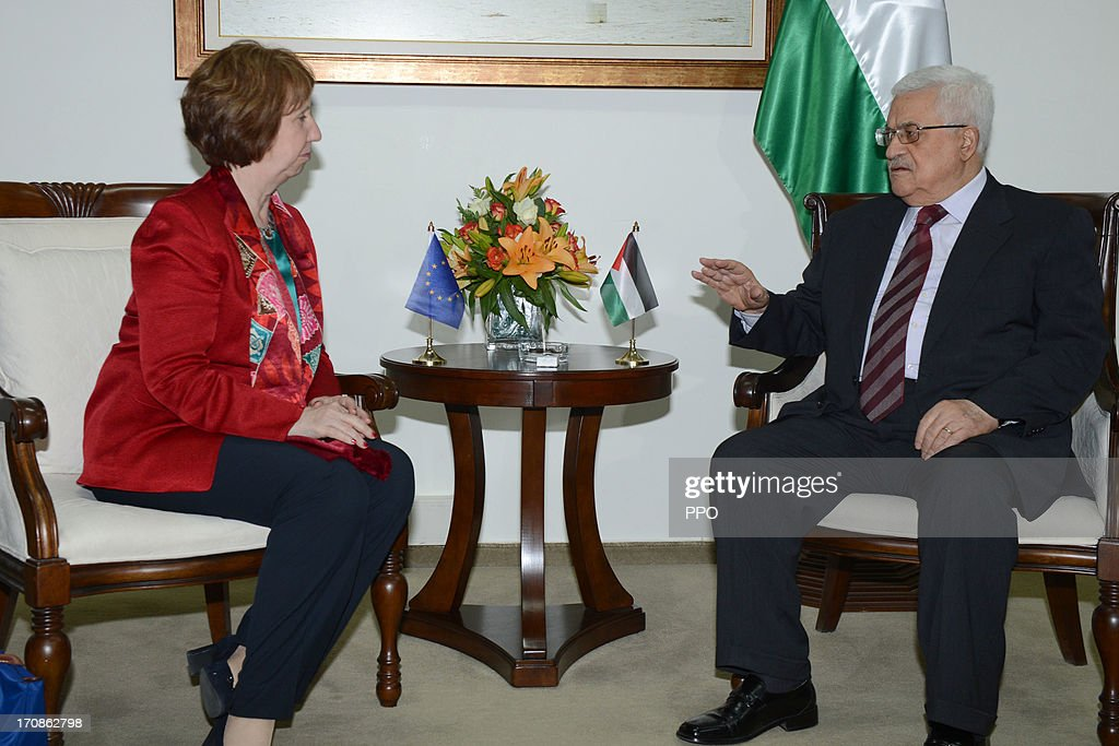 In this handout image supplied by the PPO, Palestinian President Mahmoud Abbas (R) meets with EU foreign policy chief Catherine Ashton June 19, 2013 in Ramallah, West Bank. Ashton advised Abbas to resume negotiations with Israel.