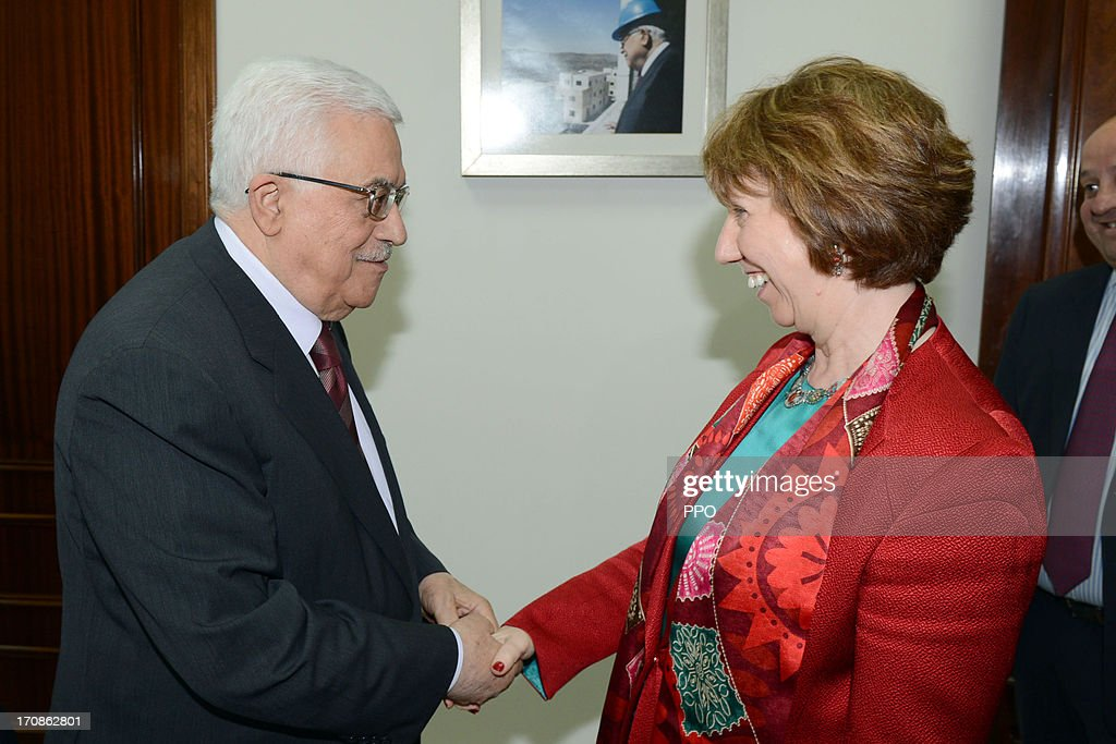 In this handout image supplied by the PPO, Palestinian President Mahmoud Abbas (L) meets with EU foreign policy chief Catherine Ashton June 19, 2013 in Ramallah, West Bank. Ashton advised Abbas to resume negotiations with Israel.