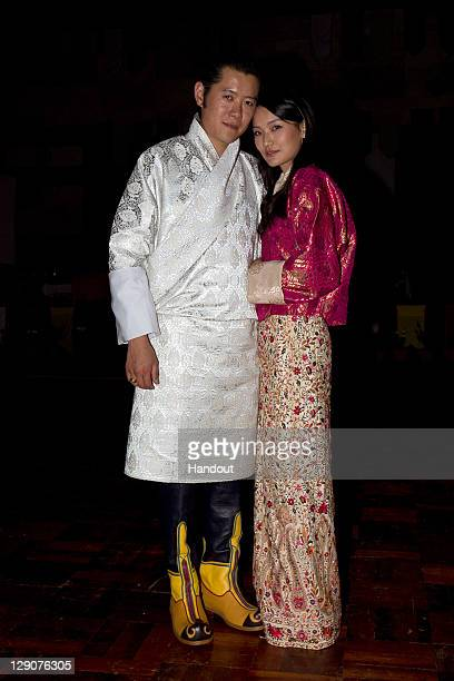 In this handout image supplied by the Royal Office of Media King Jigme Khesar Namgyel Wangchuck and future Queen of Bhutan Ashi Jetsun Pema Wangchuck...
