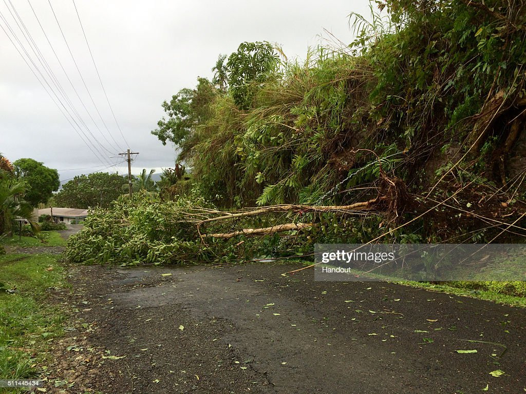 In this handout image supplied by the UNICEF, debris left by Tropical Cyclone Winston is seen on February 21, 2016 in Tamavua, Suva, Fiji. Category 5 Tropical Cyclone Winston made landfall in Fiji on Saturday, continuing its path of destruction into Sunday. A state of natural disaster and a nationwide curfew had been declared by the Government of Fiji earlier in the evening. Flights in and out of Fiji were also cancelled due to the extreme weather.