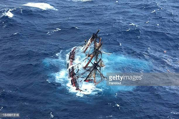 In this handout image supplied by the US Coast Guard The HMS Bounty a 180foot sailboat is submerged in the Atlantic Ocean during Hurricane Sandy...