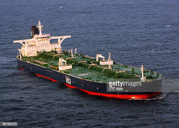 In this handout image supplied by the US Navy the Liberianflagged oil tanker MV Sirius Star is at anchor off the coast of Somalia November 19 2008 in...