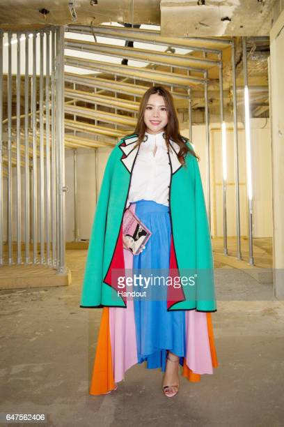 In this handout image supplied by Zhang Jie Wendy Yu poses at Natasha Zinko show on day 3 of the London Fashion Week February 2017 collections on...