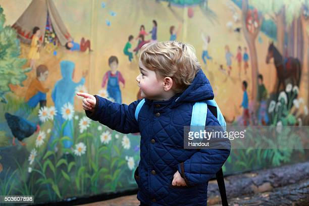 In this handout image taken by his mother the Duchess of Cambridge Prince George attends his first day at the Westacre Montessori nursery school near...