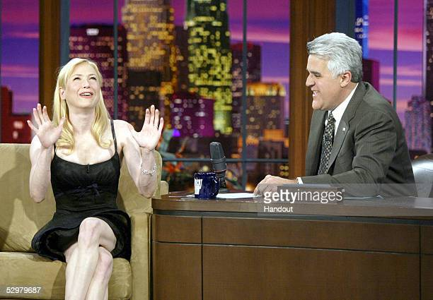 In this handout photo Actress Renee Zellweger talks about meeting husband Kenny Chesney with Jay Leno on May 24 2005 in Burbank California