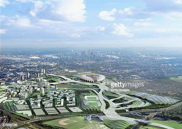 In this handout photo, an artists impression of London's bid for the 2012 Olympic Games on November 8, 2004. Plans for the Olympic Park outlines...