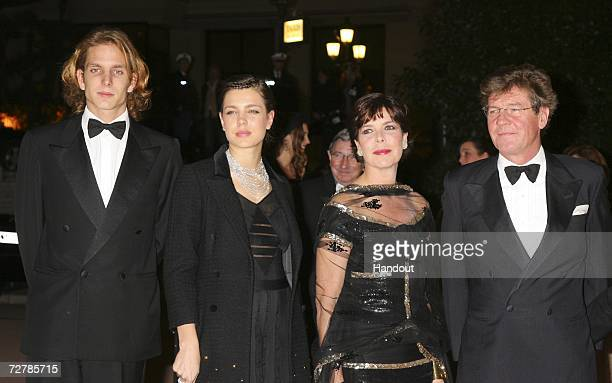 In this handout photo Andrea Casiraghi is seen alongside Charlotte Casiraghi with Princess Caroline of Hanover and Prince Ersnt August of Hanover as...