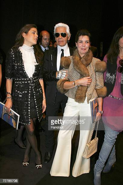 In this handout photo Charlotte Casiraghi Karl Lagerfeld and Princess Caroline arrives at the Nijinski Awards ceremony on December 7 2006 in Monte...