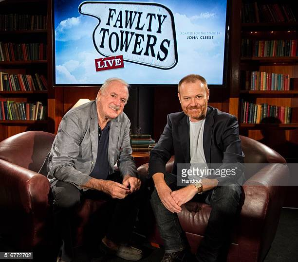 In this handout photo Fawlty Towers creator and cowriter John Cleese introduced the media to Stephen Hall who will play the role of Basil Fawlty and...