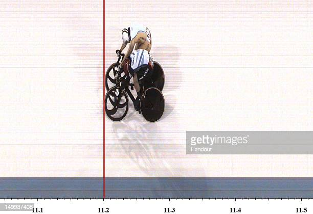 In this handout photo finish image supplied by Omega Anna Meares of Australia and Victoria Pendleton of Great Britain cross the line in Race 1 of the...