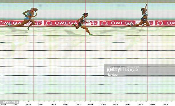In this handout photo finish image supplied by Omega, Jessica Ennis of Great Britain crosses the line during the Women's Heptathlon 800m to win...