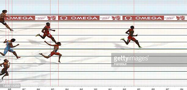 In this handout photo finish image supplied by Omega Kirani James of Grenada crosses the finish line to win the gold medal in the Men's 400m Final on...