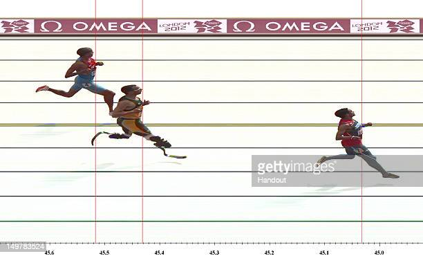 In this handout photo finish image supplied by Omega Luguelin Santos of Dominican Republic leads Oscar Pistorius of South Africa during the Men's...