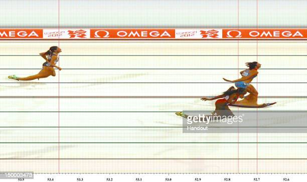 In this handout photo finish image supplied by Omega Natalya Antyukh of Russia crosses the finish line to win the Women's 400m Hurdles Final on Day...