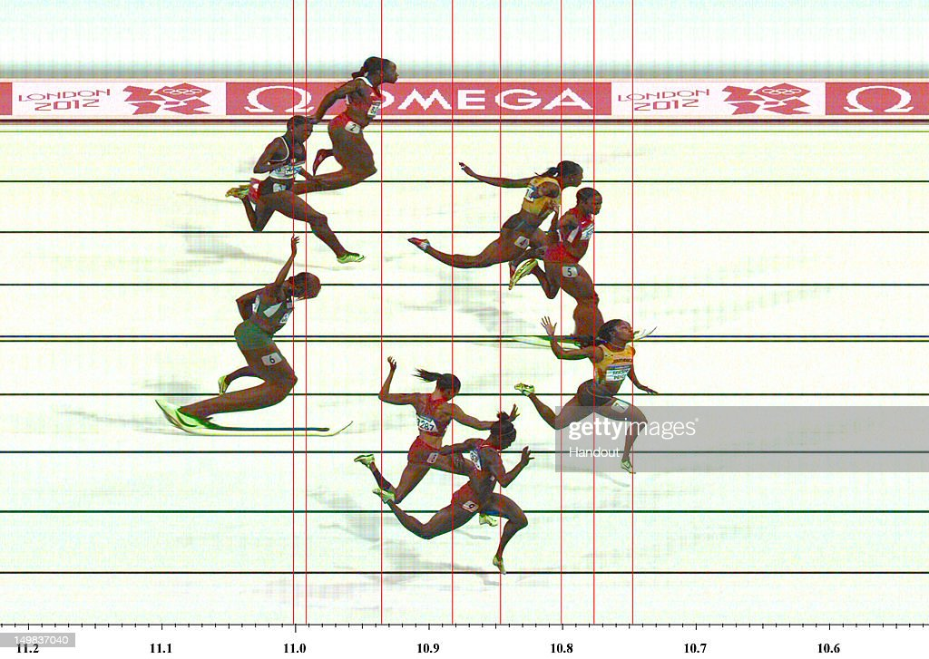 ATM001901 v1.0 LONDON, ENGLAND - AUGUST 04: In this handout photo finish image supplied by Omega, (L-R) Shelly-Ann Fraser-Pryce of Jamaica (Gold), Carmelita Jeter of the United States (Silver) and Veronica Campbell-Brown of Jamaica (Bronze) cross the line in the Women's 100m Final on Day 8 of the London 2012 Olympic Games at Olympic Stadium on August 4, 2012 in London, England.