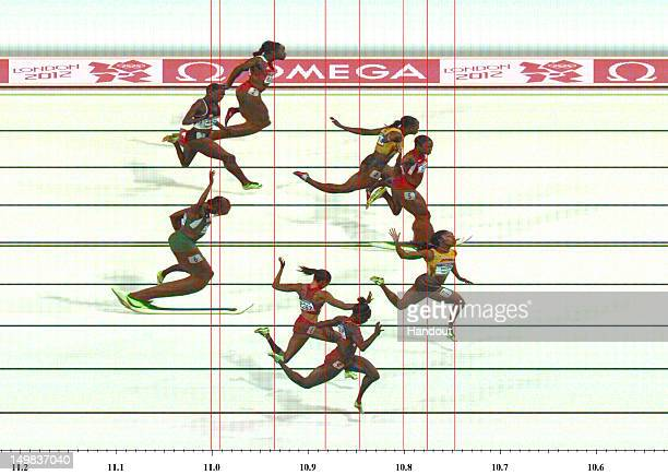 ATM001901 v10 LONDON ENGLAND AUGUST 04 In this handout photo finish image supplied by Omega ShellyAnn FraserPryce of Jamaica Carmelita Jeter of the...