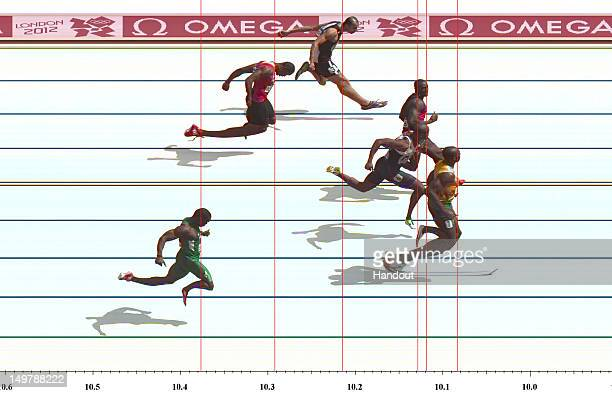 In this handout photo finish image supplied by Omega, Usain Bolt of Jamaica wins the Men's 100m Round 1 Heat, on Day 8 of the London 2012 Olympic...