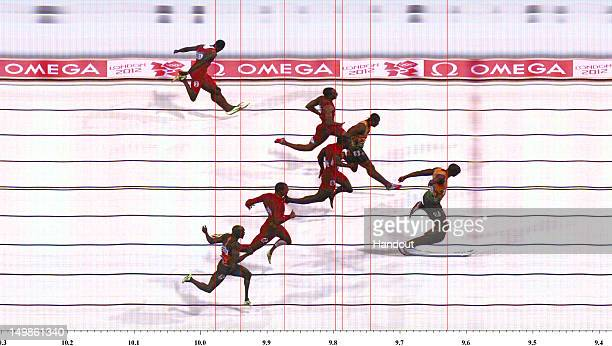 In this handout photo finish image supplied by Omega Usain Bolt of Jamaica wins the Men's 100m Final on Day 9 of the London 2012 Olympic Games at the...