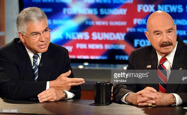 In this handout photo from FOX News Richard BenVeniste and GGordon Liddy speak about Watergate on FOX NEWS SUNDAY with Chris Wallace at the FOX News...